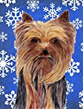 Caroline's Treasures SC9365CHF Yorkie Winter Snowflakes Holiday Flag Canvas, Large, Multicolor For Sale