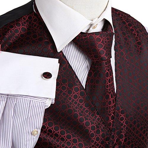 VS1023rot gepunktet Herren Manschettenknöpfe FC Schal Weste des Bräutigam und der Pop Gate Geschenk-Krawatte und Marsch
