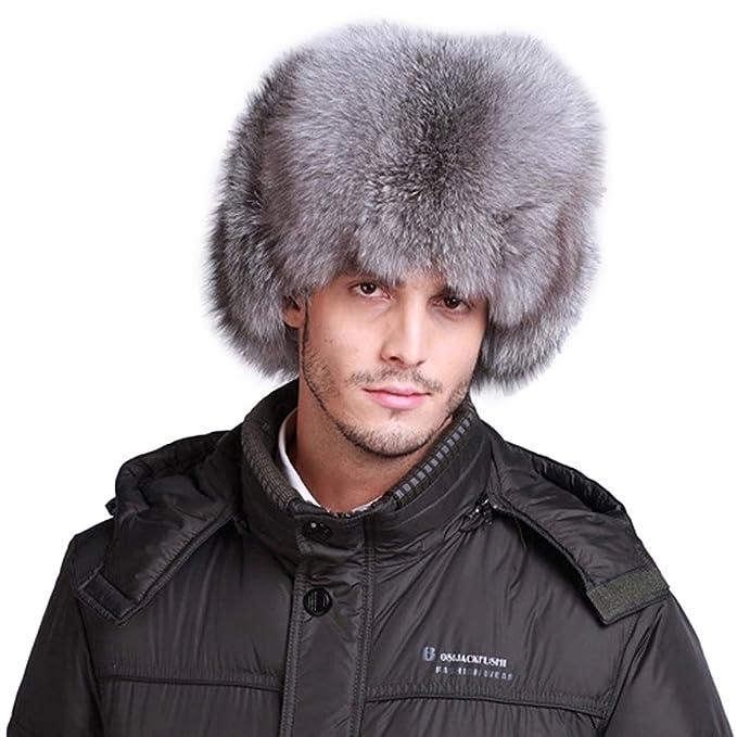 d46bce87ee3 lethmik Mens Trapper Hat Fox Fur Russian Ushanka Hat Trooper Winter Hats  Silver Gray