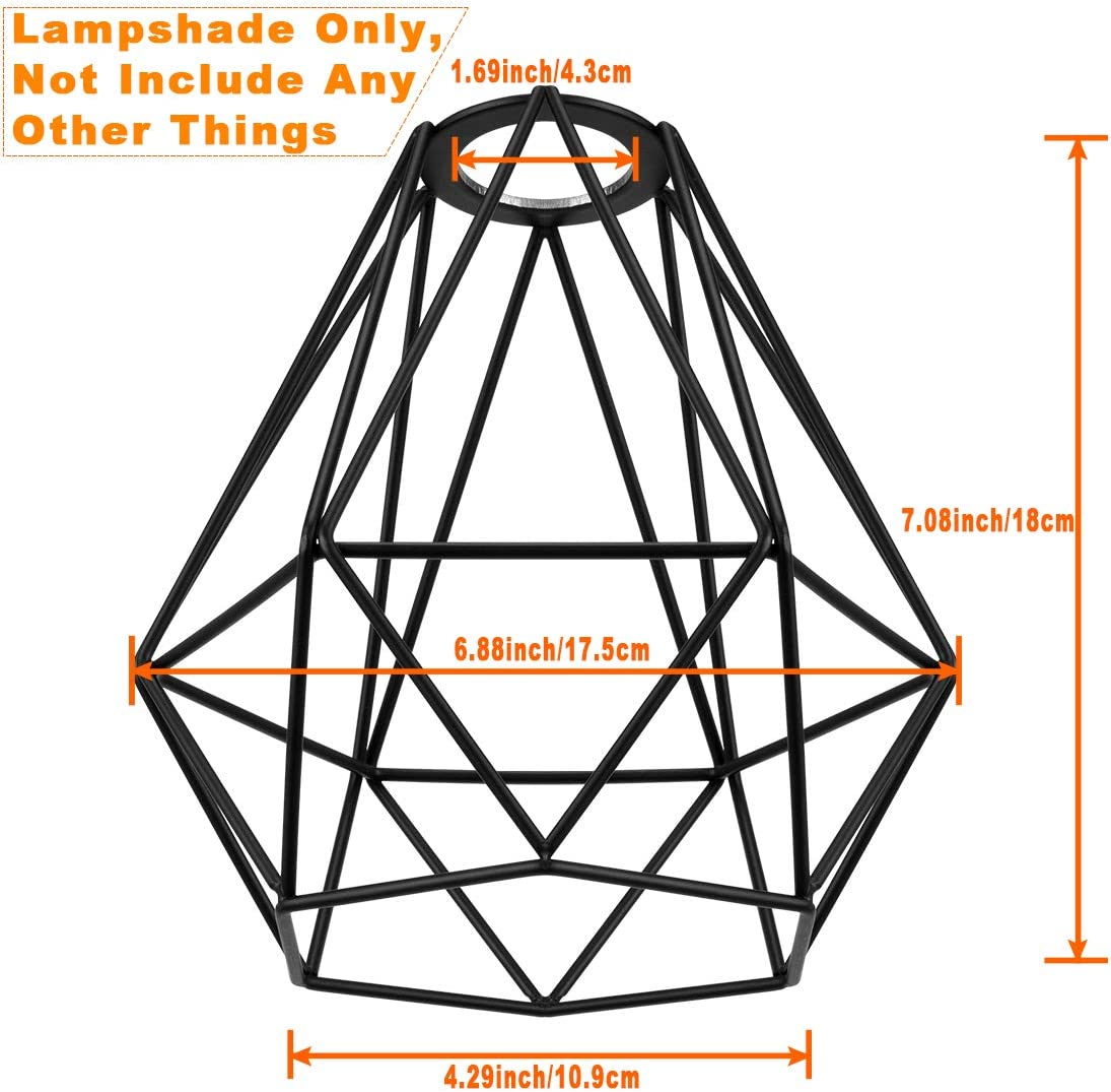 Lighting Metal Cage Lampshade for Pendant Light Cord Kit Vintage Lamp Holders Hanging Lighting Cord Fixture Farmhouse Bedroom Dining Room Decoration (3 Packs/Diamond Shape) - -