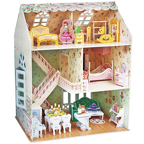 CubicFun Dollhouse Kits with Furniture,Kids House 3D Puzzle Toys 160 Piece,P645h