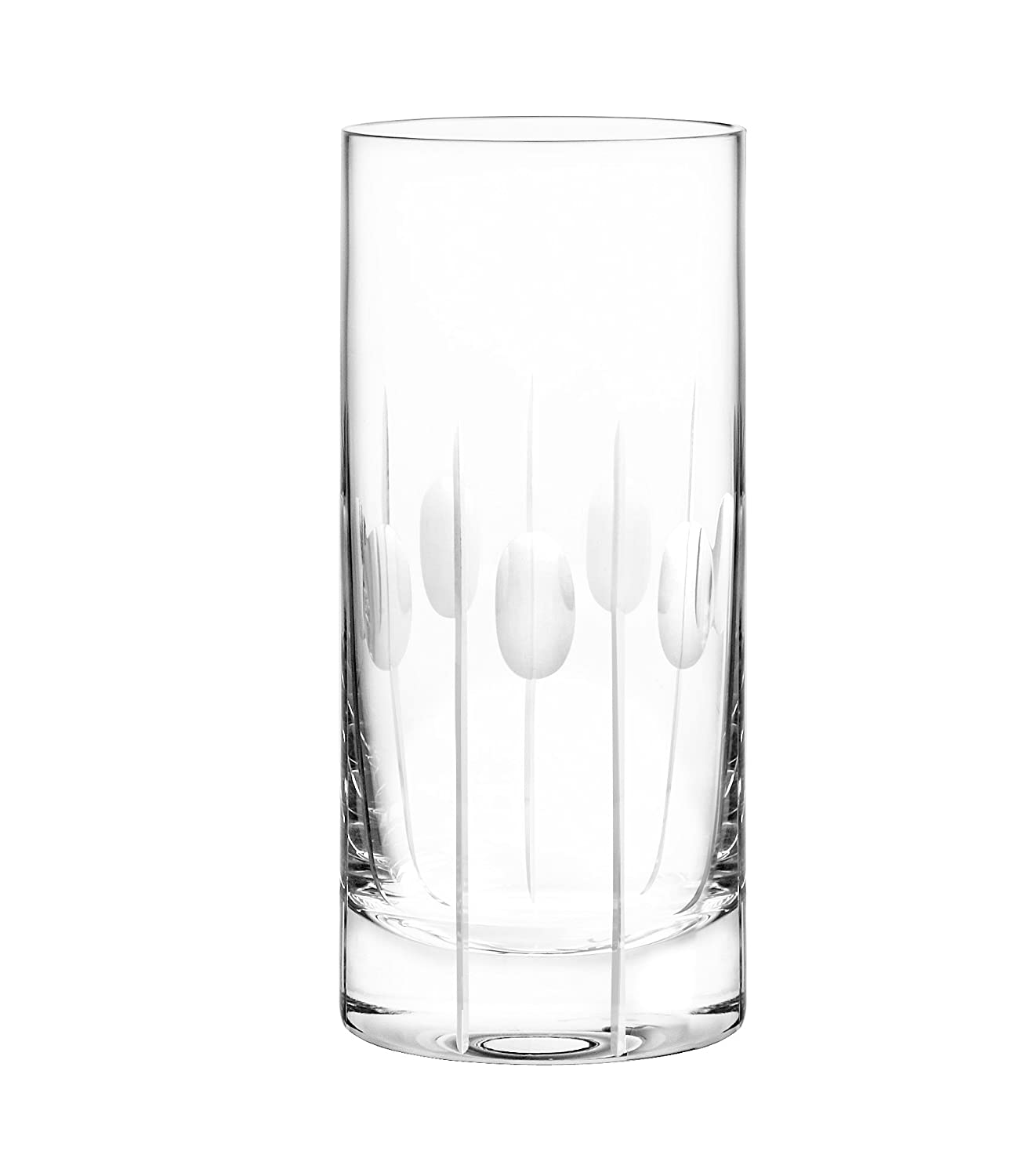 Qualia Glass Gulfstream Set of 4 High Ball 6.7 High Glasses with Vertical Cuts and Circular Design 16-ounce