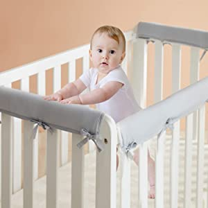 3-Piece Baby Crib Rail Cover Set for Teething, Safe Wrap Crib Guard Rail Cover for 1 Front Rail and 2 Side Rails, Soft Inner for Baby Reversible Padded Standard Mini Bed Guard Protector(Grey)