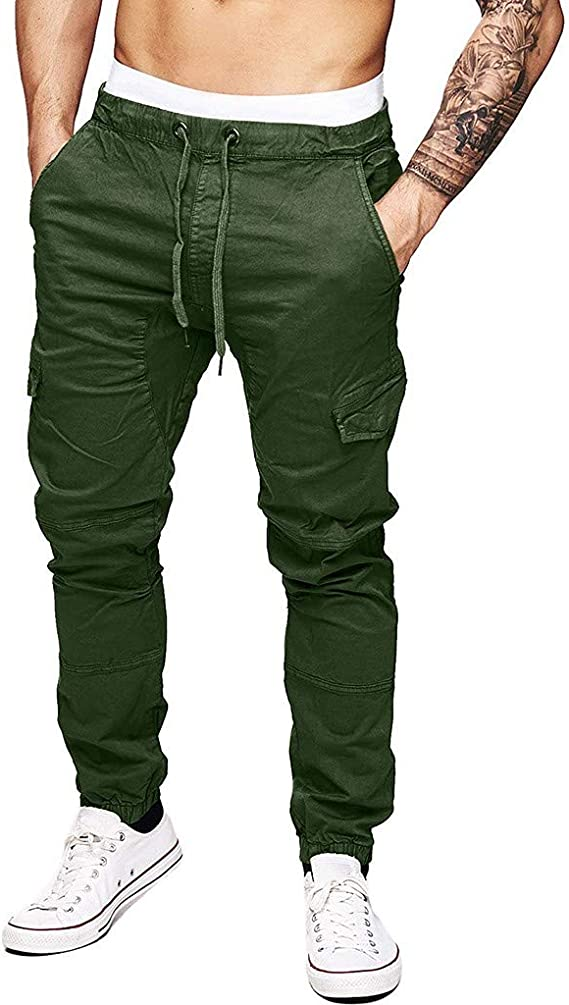 OWMEOT Mens Cotton Cargo Shorts with Pockets Loose Fit Outdoor Wear Twill Elastic Waist Shorts