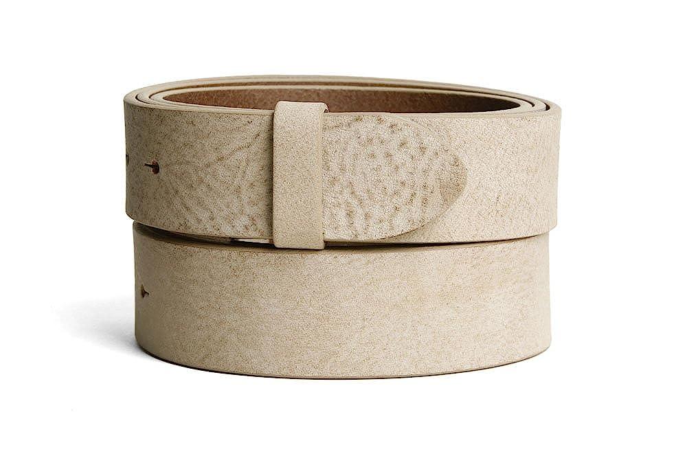 VaModa Belt, Cinturón en piel, modelo Gump, color beige, sin hebilla