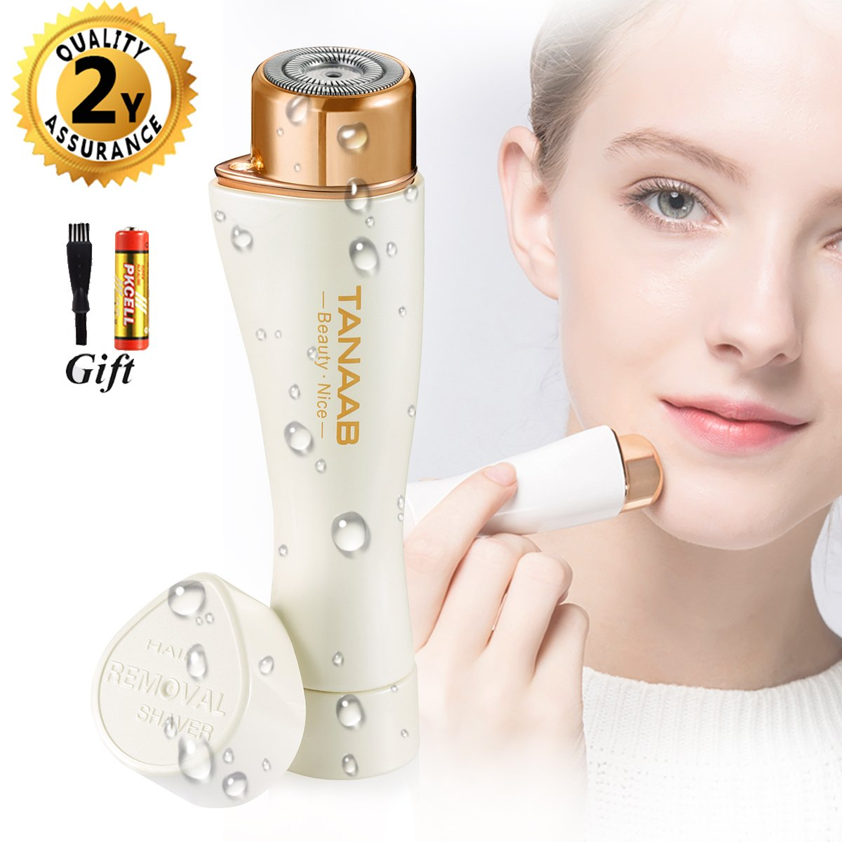 TANAAB Facial Hair Removal for Women Waterproof Flawless Painless Women's Facial Hair Remover Built-in LED Light