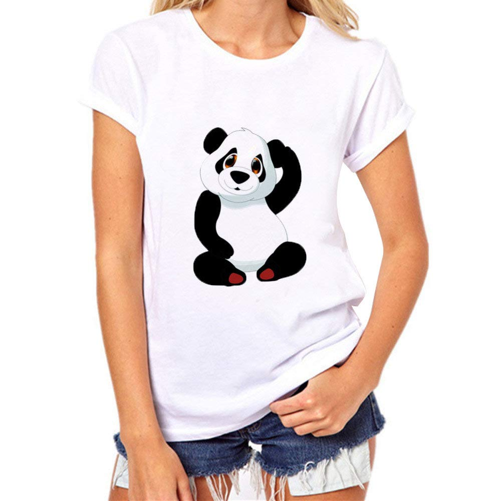 7d7a4816f Dressin T-Shirt, Womens Plus Size Tops Panda Print Round Neck Short Sleeve  Tees Blouse Tops at Amazon Women's Clothing store: