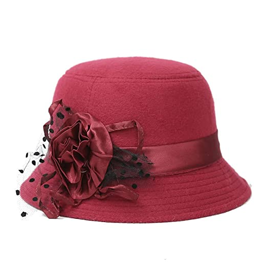 4c26691c9 ChenXi Store Women's Sun Hats Organza Hat Wide Brim Church Tea Party  Wedding Hat