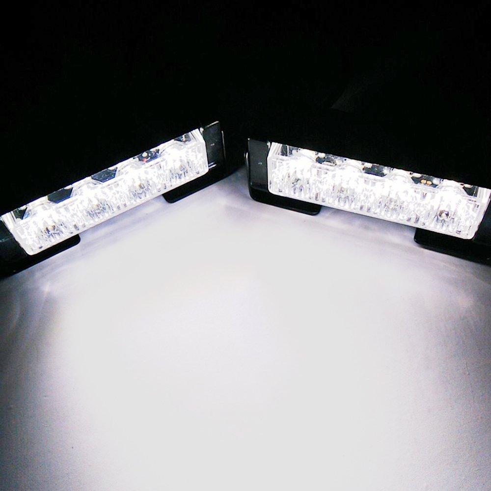 20W ambra set Mesllin Ambra LED Flash Strobe Light 5 pollici Emergenza Hazard Warning Light Bar per auto 2X 4 LED