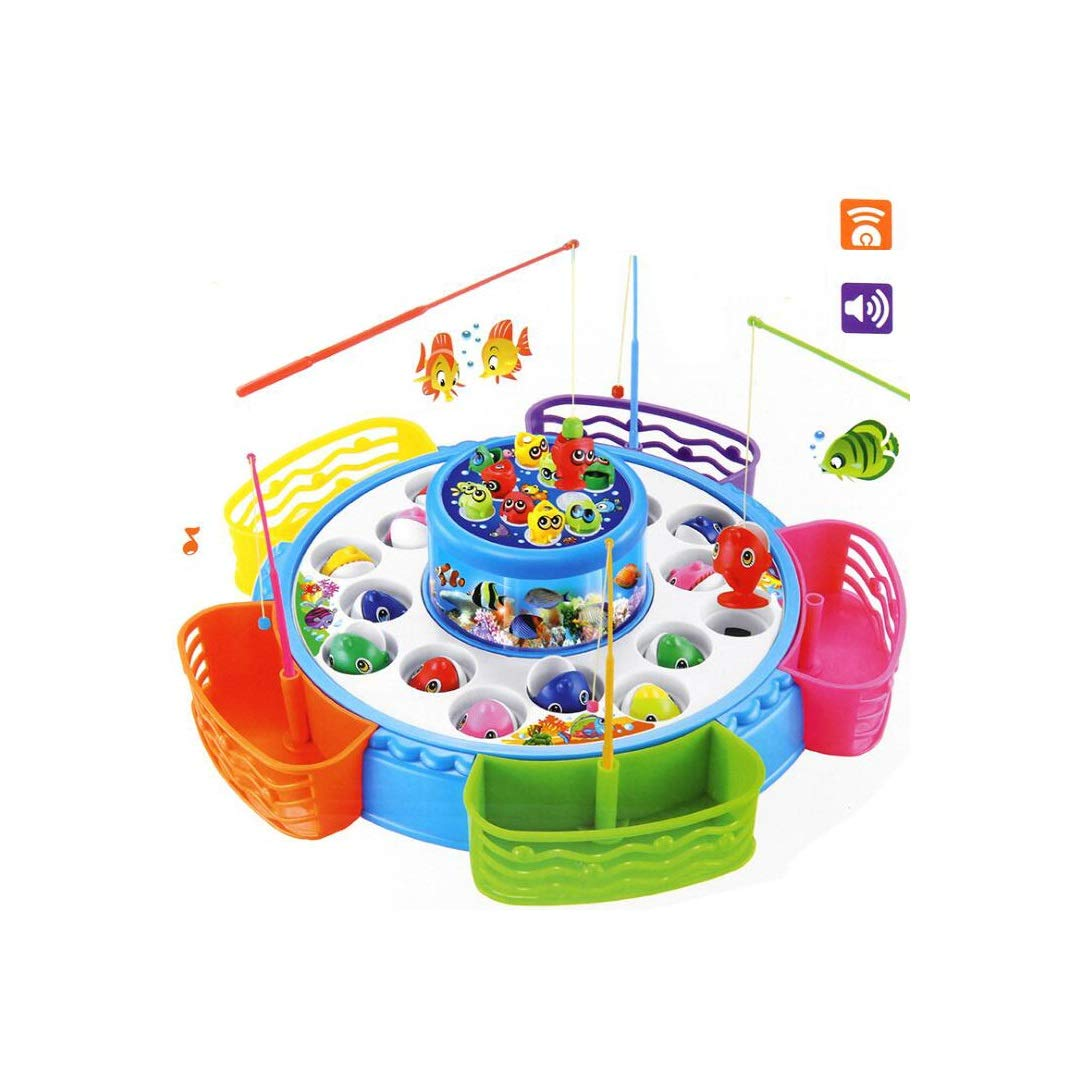 KTYXGKL Gioco da Pesca Elettrico Grande per Bambini con Doppio Magnete rossoante con Canna da Pesca Baby Puzzle 32.5x10cm Giocattoli educativi per Bambini