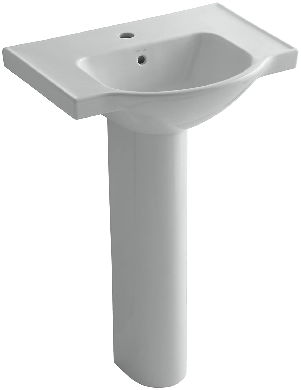 kohler k 5266 1 0 veer pedestal bathroom sink with single faucet hole 24 inch white amazoncom