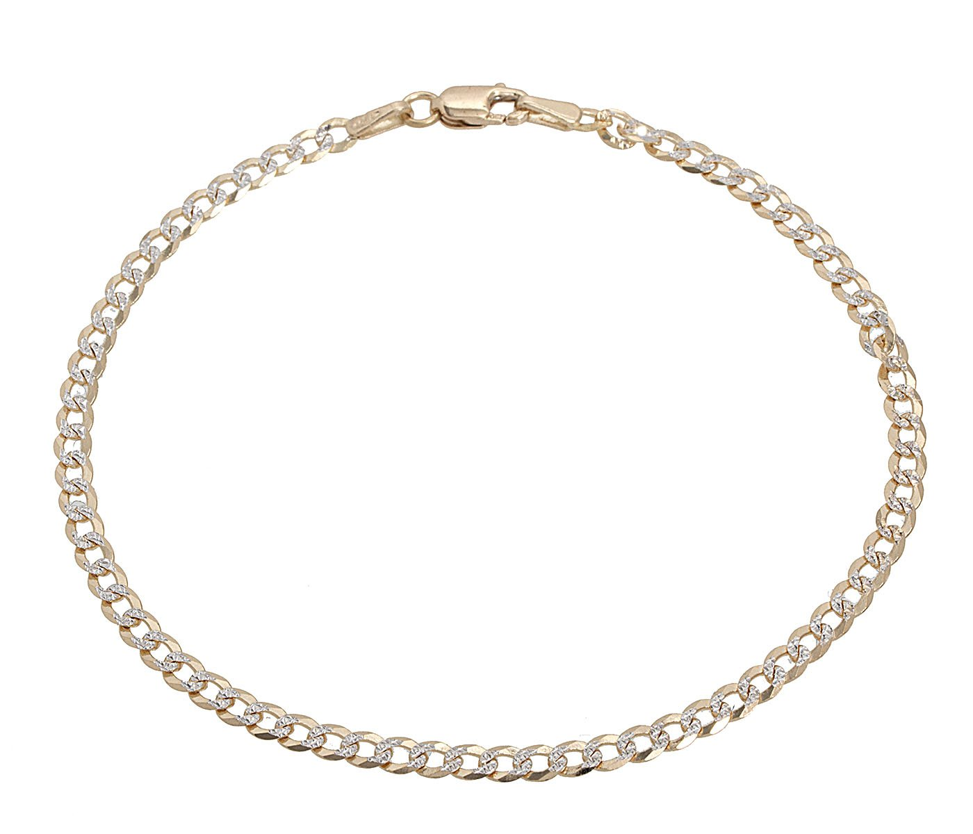 18K Solid Yellow Gold with White Pave Diamond Cut 3MM Cuban Chain Bracelet- 8 inch