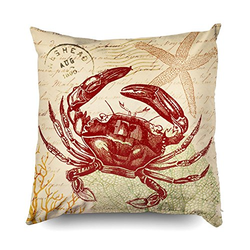 TOMWISH Hidden Zippered Pillowcase seaside red crab collage 20X20Inch,Decorative Throw Custom Cotton Pillow Case Cushion Cover for Home Sofas,bedrooms,offices,and ()