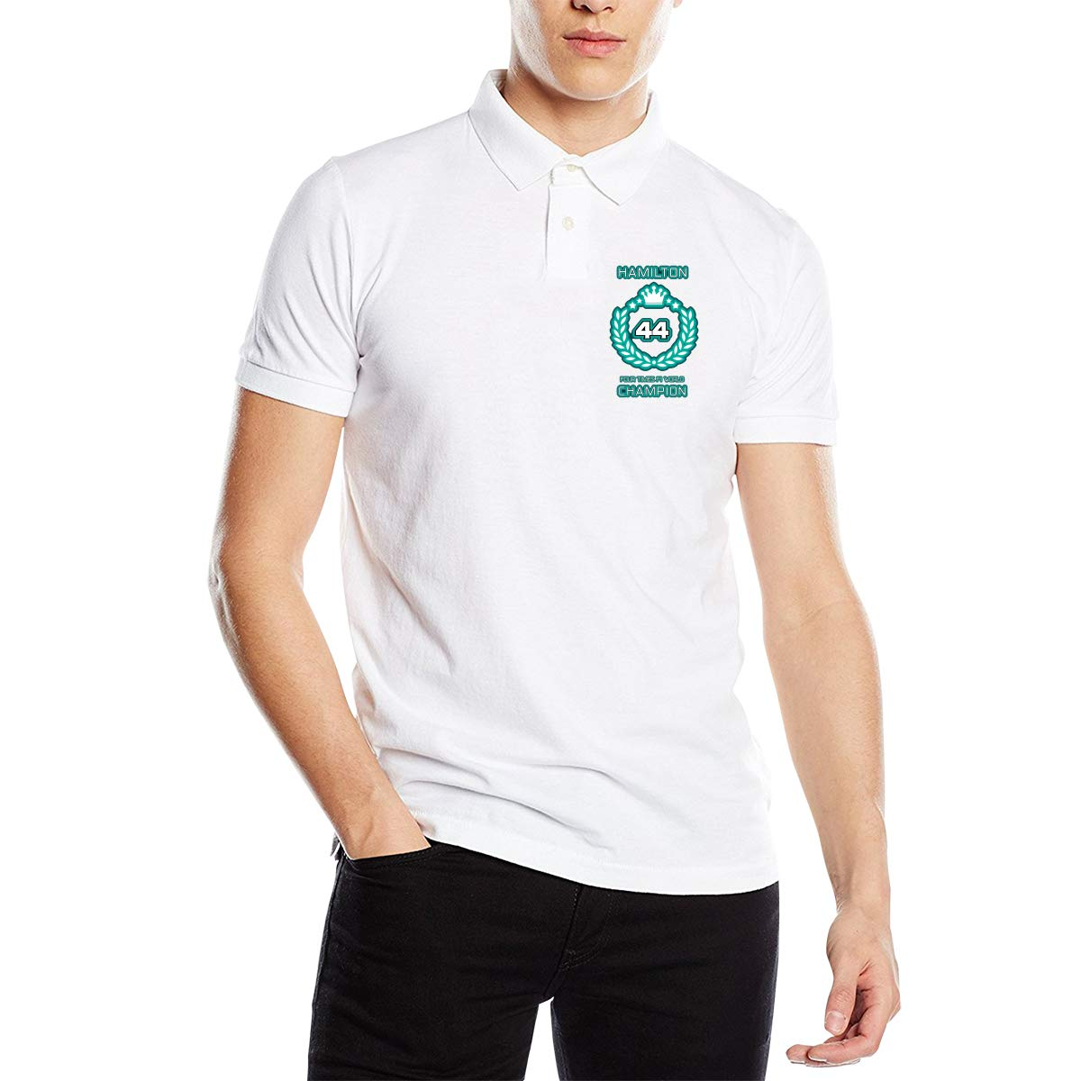 Arilce Racing Driver Lewis Hamilton 44 Four Times F1 World Champion Men Polo Shirt Short Sleeve Lapel Blouse Black
