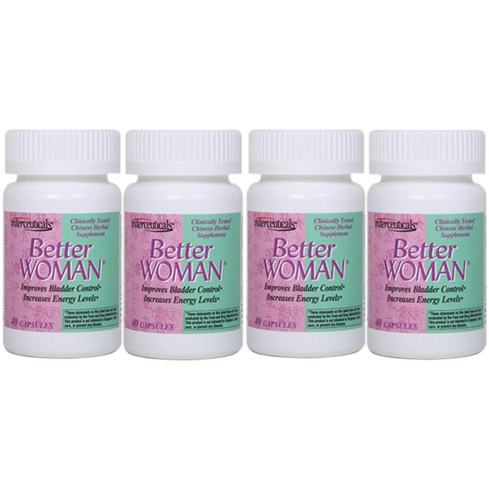 BetterWOMAN Bladder Control Supplement for Women- Helps to Reduce Bathroom Trips - Sleep Better at Night –Reduce Urgency and Occasional Leakage* - interceuticals (4 Bottles)