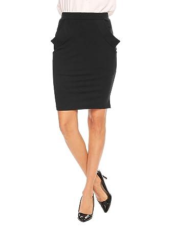 1277f6103 Zeagoo Womens Above The Knee Elastic Waist Work Pencil Skirt with  Pocket,Black(style2