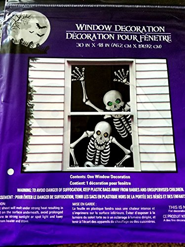 Hilarious Scary Skeletons Window Mural Halloween Decoration