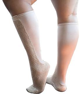 53df4431ce Xpandasox Women's Plus Size/Wide Calf Brocade Cotton Blend Knee High Socks
