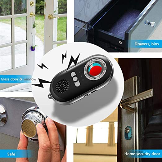 Lesgos Detector de cámara Oculta Anti espía, RF Detector de Errores Escáner de señal inalámbrico Alarma de Seguridad Personal Movimiento Sensor de vibración ...