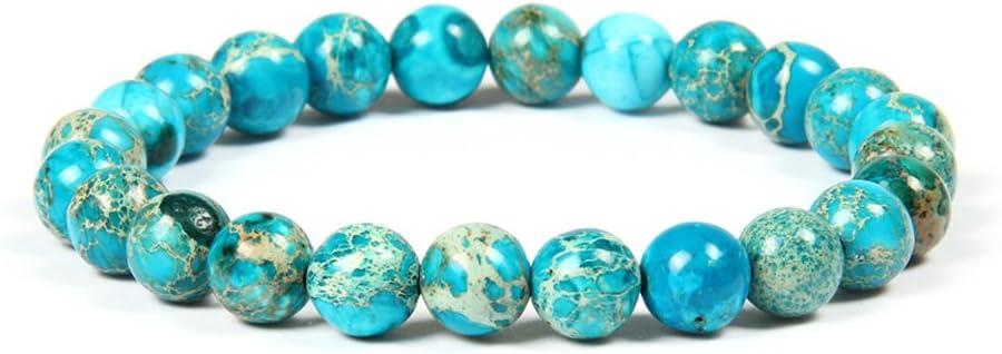 GD GOOD.designs EST. 2015 Buenos DISEÑOS Pulsera de Perlas Chakra de 8 mm o 10 mm de Jaspe de sedimentos Marinos, Pulsera de Jade para Hombres y Mujeres. (Turquesa/8mm)