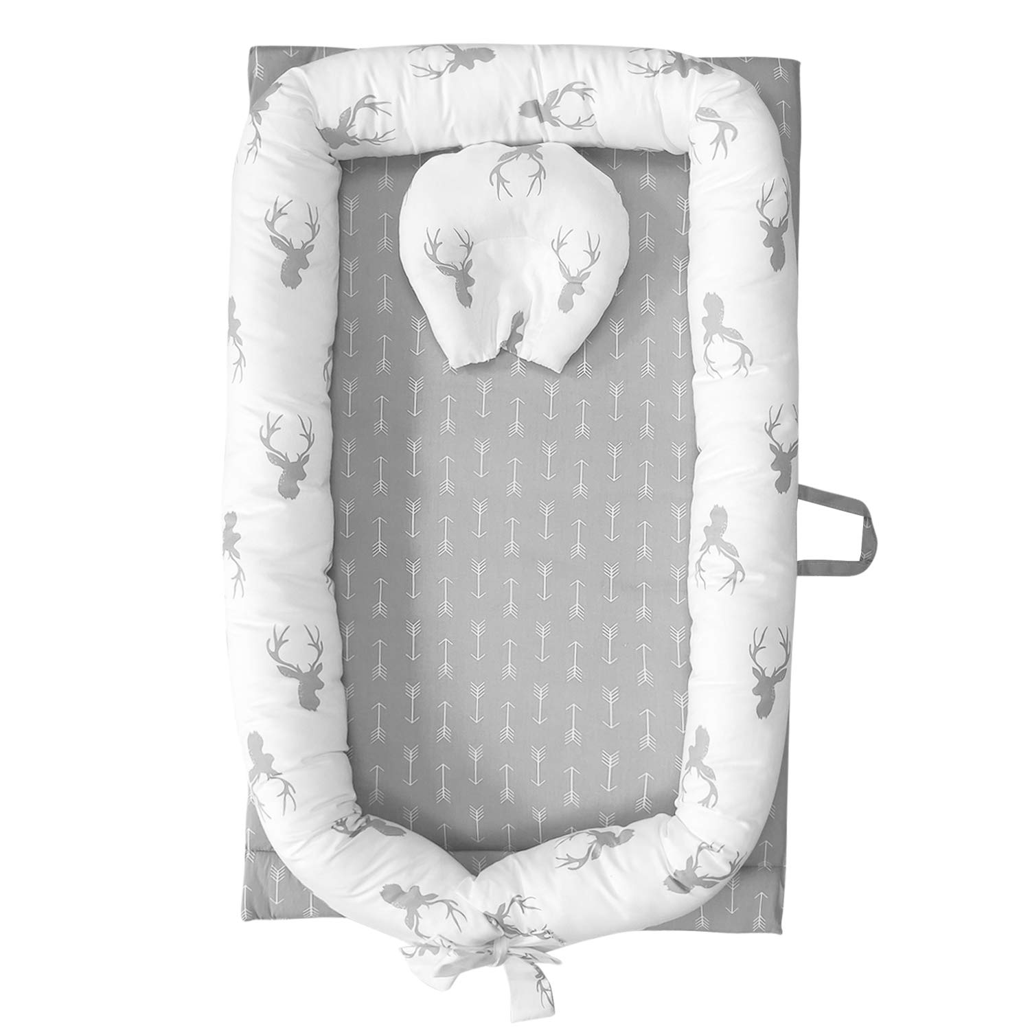 Abreeze Baby Bassinet for Bed -Christmas Elk Baby Lounger - Breathable & Hypoallergenic Co-Sleeping Baby Bed - 100% Cotton Portable Crib for Bedroom/Travel 0-24 Months by Abreeze
