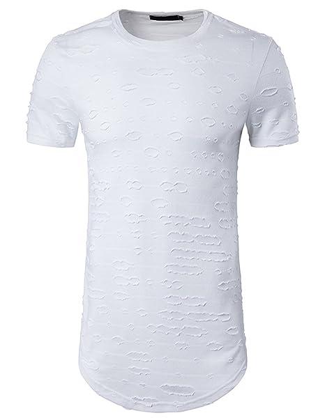 YCHENG Moda Largo Camisetas para Hombre Manga Corta Cuello Redondo Rotos Hueco Hip Hop T-
