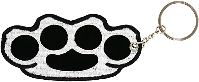 High Quality Embroidered PATCH KEYCHAIN BRASS KNUCKLES 4 x 2 Hot Leathers Double Sided Key Chains