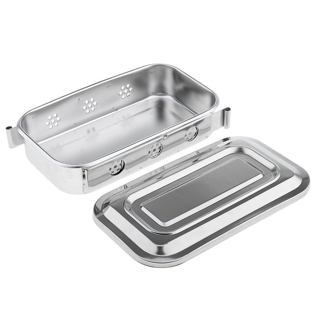 Baosity 2 Pcs 8'' Stainless Steel Instrument Tray With Lid Medical Dental Storage Box Case Durable in Use