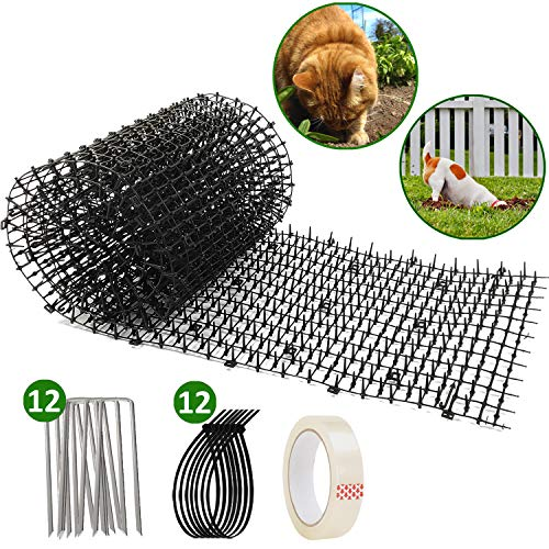 Cat Scat Mat With Garden Spikes, Anti-cat Prickle Strip w/12 Staples, 12 Strips, Tape, Deter Dog Digging Yard, Fence, Pots, Repel Critters Climbing Birdfeeder, Safe no Hurt,11.8inx6.5ft Roll (Best Outdoor Plants For Dogs)