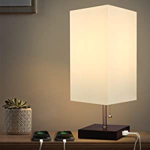 Table Lamp with 2 Ports USB Bedside Charging Outlet and Fabric Shade - Albrillo Minimalist Solid Nightstand Desk Lamps for Dresser,Office Lamps,Living Room,College Dorm,Kids Room,Bookcase,Coffee Table