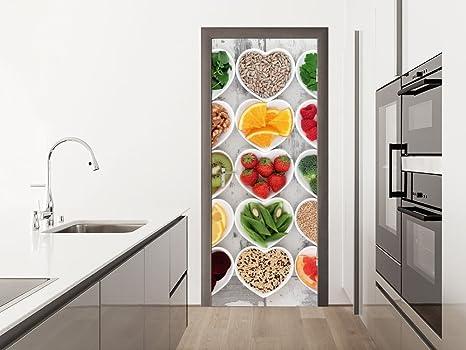 Graz Design Adesivo per Porta Poster per cucina cuore fragole arance ...