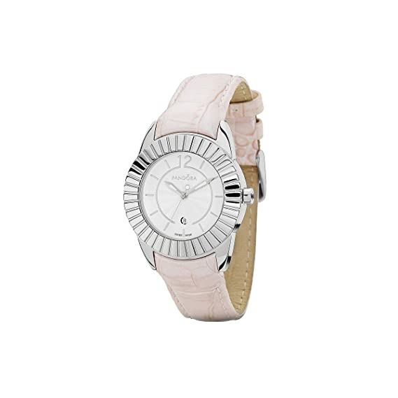 Pandora 811010WH - Reloj analógico de mujer de cuarzo con correa de piel rosa: Amazon.es: Relojes
