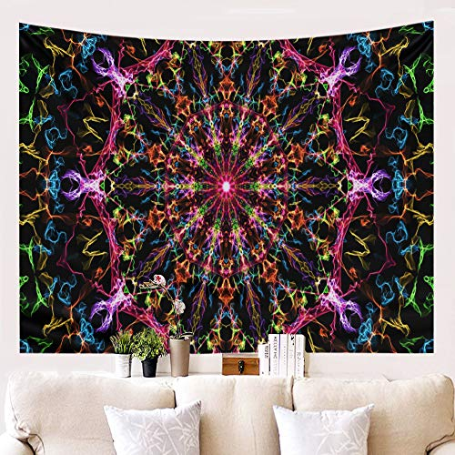 ENCOFT Boho Mandala Prints Lightweight Polyester Wall Hanging Tapestry Curtains Hippy Trippy Colorful Home Decoration Beach Throws Picnic Blanket (60