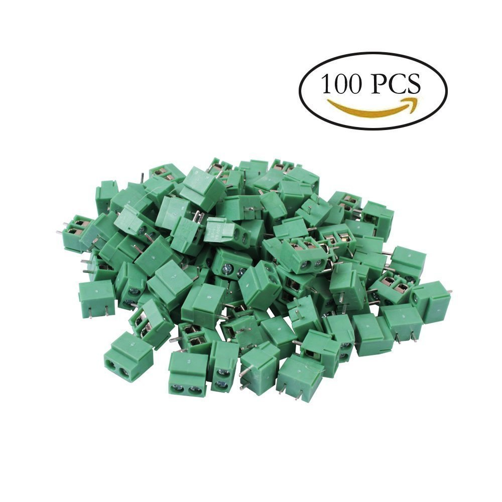 100PCS 2 Pole 5mm Pitch PCB Mount Screw Terminal Block 10A 300V Md trade