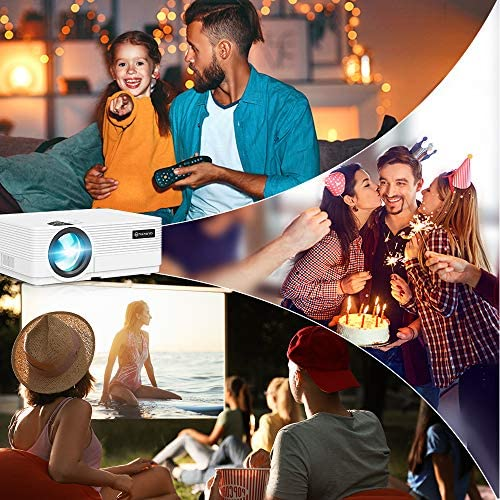"""VANKYO Leisure 470 Mini WiFi Projector w/ 100 Inch Projection Screen, Full HD 1080P & 250"""" Display Supported, 2021 Upgraded Movie Projector for Outdoor & Indoor, Compatible with TV Stick & iPhone"""