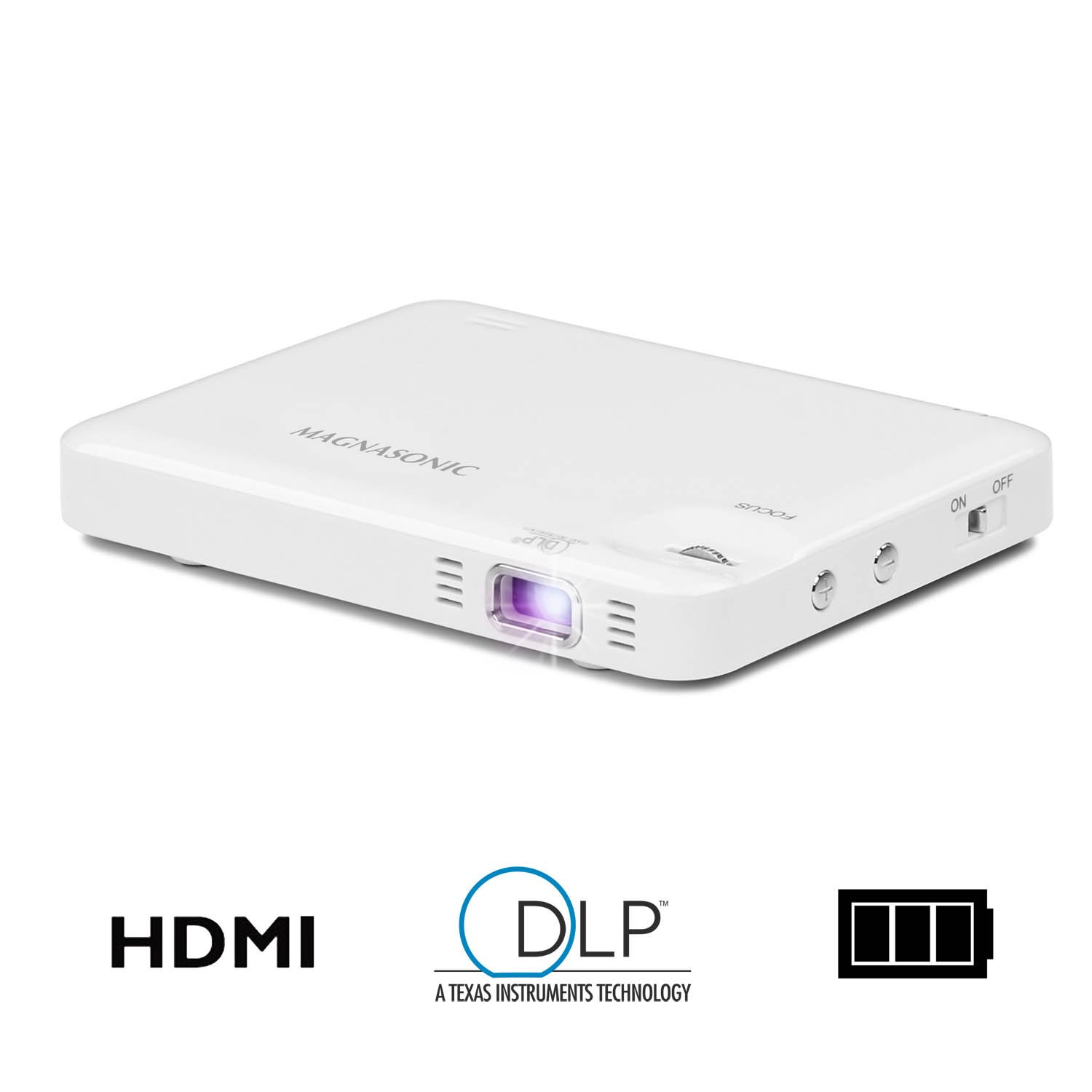 "Magnasonic Mini Portable Pocket Video Projector, HDMI, Rechargeable Battery, Built-in Speaker, DLP LED, 60"" Hi-Res Display for Streaming Movies, Presentations, Smartphones, Tablets, Laptops (PP60W) by Magnasonic"