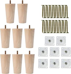 uxcell 4 Inch Round Solid Wood Furniture Legs Sofa Couch Chair Table Desk Closet Cabinet Feet Replacement Adjuster Set of 8