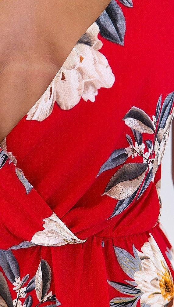 Sentao Mujeres Elegante Floral Jumpsuit V Cuello Corto Playa Partido Mono Playsuits Rosso XL: Amazon.es: Ropa y accesorios