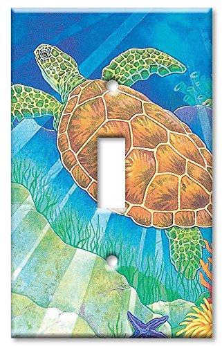 Single Gang Toggle Wall Plate - Sea Turtle