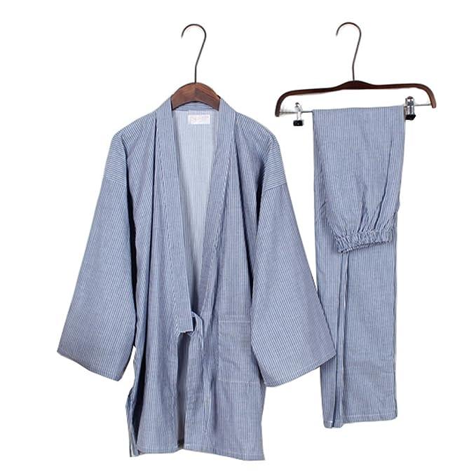 Trajes de estilo japonés de los hombres de algodón puro traje de pijama de Kimono pijama