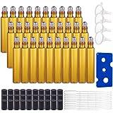 BENECREAT 30 Pack 10ml Botella de Vidrio Botellas de Rodillos de Aceites Esenciales Equipado con Cubierta Negra y 10…