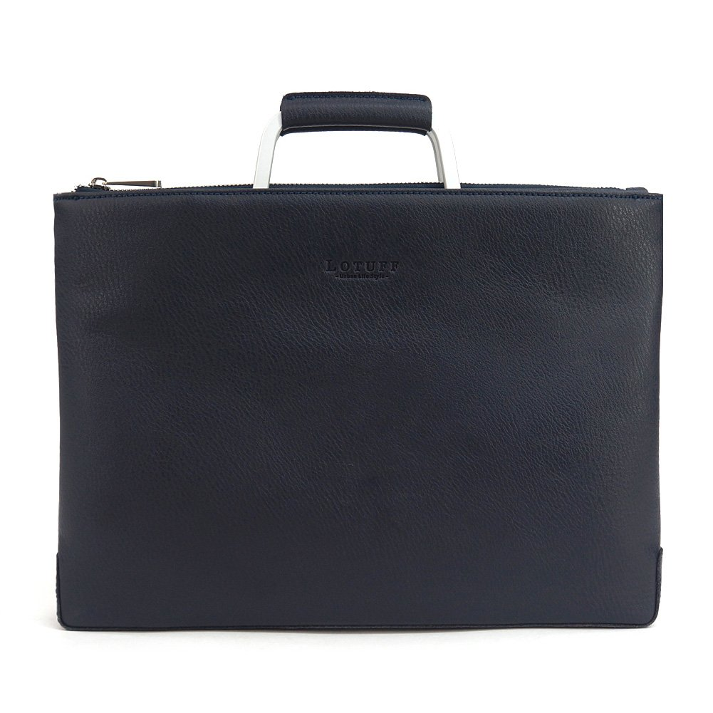 Lotuff Men's Leather Simple Briefcase Bag Business Laptop Messenger Bags Tote Large Size (Navy) by LOTUFF