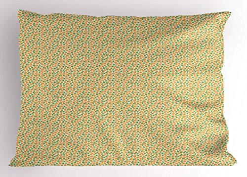HFYZT Raspberry Pillow Sham, Pattern with Hand-Drawn Juicy Savoury Raspberries Vegan Food, Decorative Standard King Size Printed Pillowcase, 18 X 18 inches, Marigold Fern Green and White