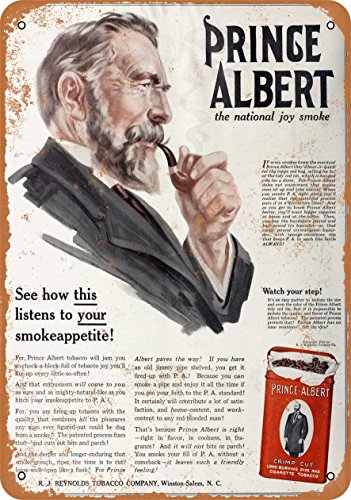 - Wall-Color 9 x 12 Metal Sign - 1916 Prince Albert Crimp Cut Pipe and Cigarette Tobacco - Vintage Look
