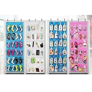 Uphome Clear Over the Door Shoe Organizer/Storage Rack - Space-saving Hanging PEVA 24-Pocket Organizer Bag with Free Hooks,Purple