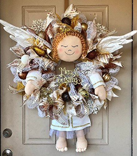 Christmas Angel Wreath with Adorable Plush Angel to include her Wings! and Filled with Brown, Gold and Bronze Ornaments