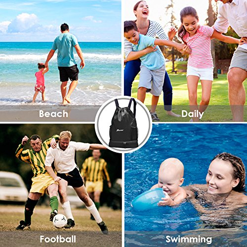 YOULERBU Gym Drawstring Bag, Sports Backpack With Shoe Compartment, Swim Bag With Wet Dry Compartments for Women Men by YOULERBU (Image #7)