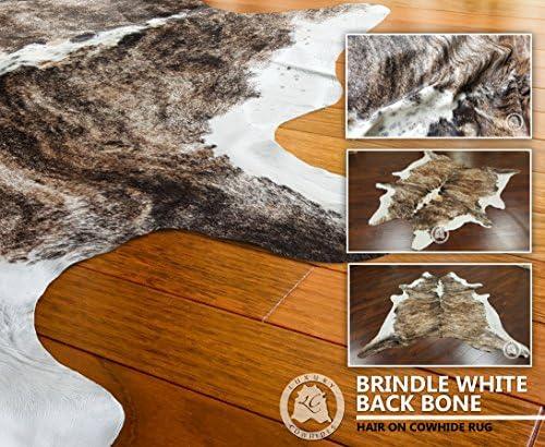 Sunshine Cowhides Cowhide Rug Brindle White Backbone Large Approx Size 5ft x 7ft 150 cm x 210cm