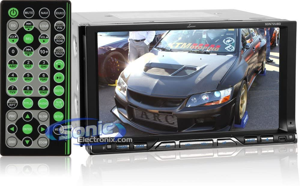 Lanzar SDN72UBD 7-Inch Double-DIN TFT Monitor Touchscreen DVD//MPEG4//MP3//DIVX//CDR//USB//SD//AM//FM//RDS with Built-In Bluetooth