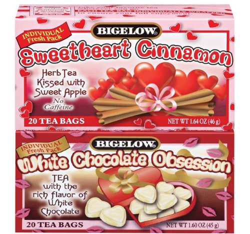 Bigelow Tea Bags - Valentine Duet Tea - Sweetheart Cinnamon and White Chocolate Obsession , 40 Count